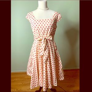 Unique Vintage Magnolia Park pink polka dot dress